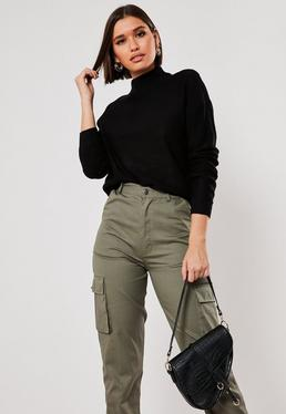 black boxy high neck knitted jumper