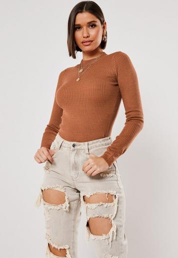 Terracotta High Neck Ribbed Knitted Top by Missguided
