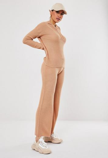 Camel Knitted Trousers And Hoodie Co Ord Set by Missguided