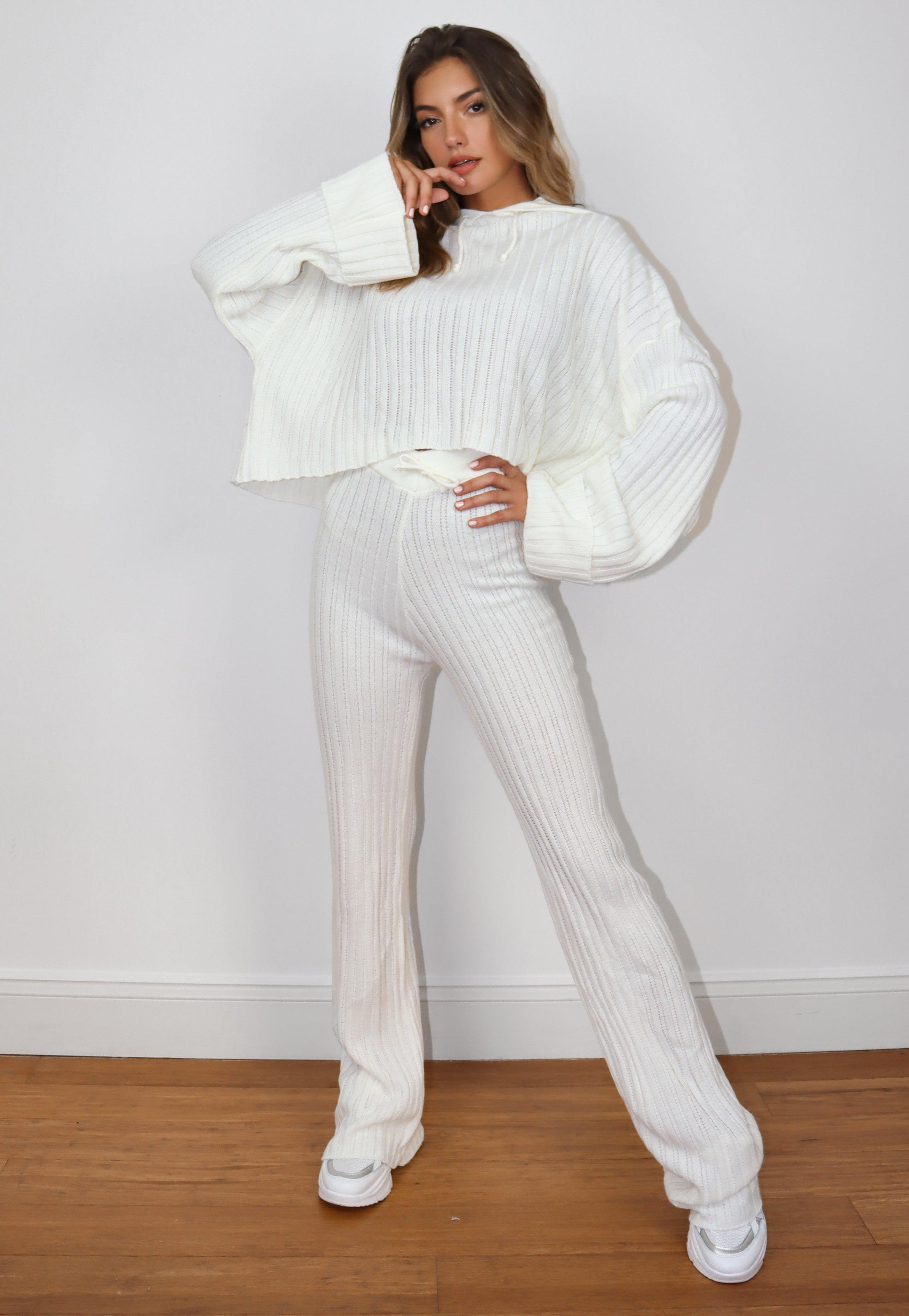 White Rib Knitted Wide Sleeve Hoodie And Trousers Co Ord Set | Missguided