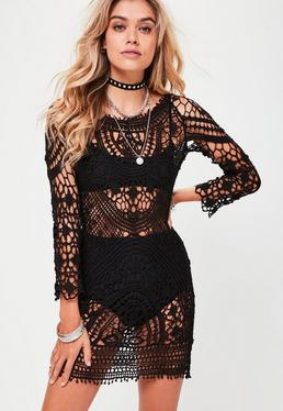 Black Crochet Bodycon Dress