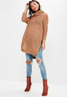 Brown Split Long Line Loose Knitted Sweater