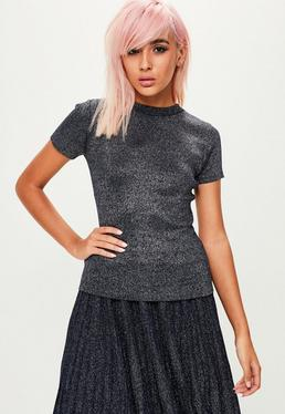 Navy Metallic Knitted Top