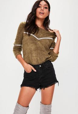 Khaki Trim Front Sweater