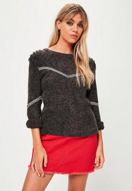 Grey Trim Front Sweater