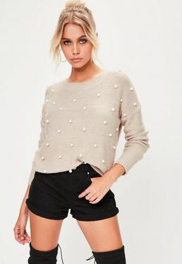 Brown Pearl Embellished Knitted Jumper