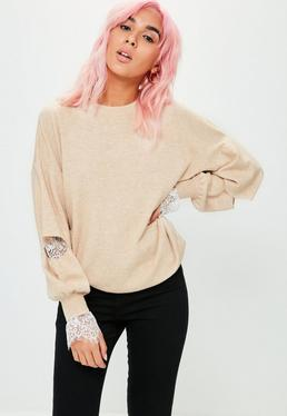 Nude Lace Cuff Detail Knitted Jumper