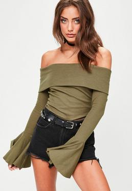 Khaki Off Shoulder Frill Sleeve Top