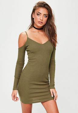 Khaki Cold Shoulder Long Sleeved Dress