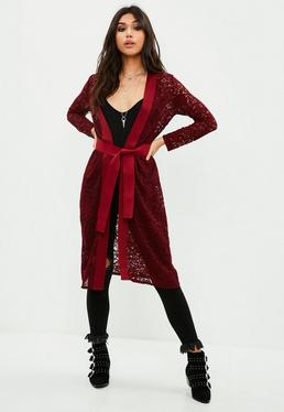 Burgundy Lace Knit Longline Cardigan