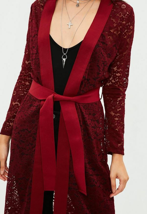 Burgundy Lace Knit Longline Cardigan | Missguided Ireland