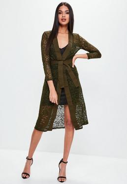 Khaki Lace Longline Cardigan