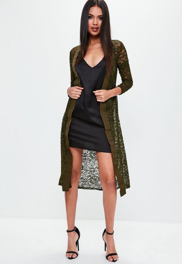 Khaki Lace Longline Cardigan | Missguided