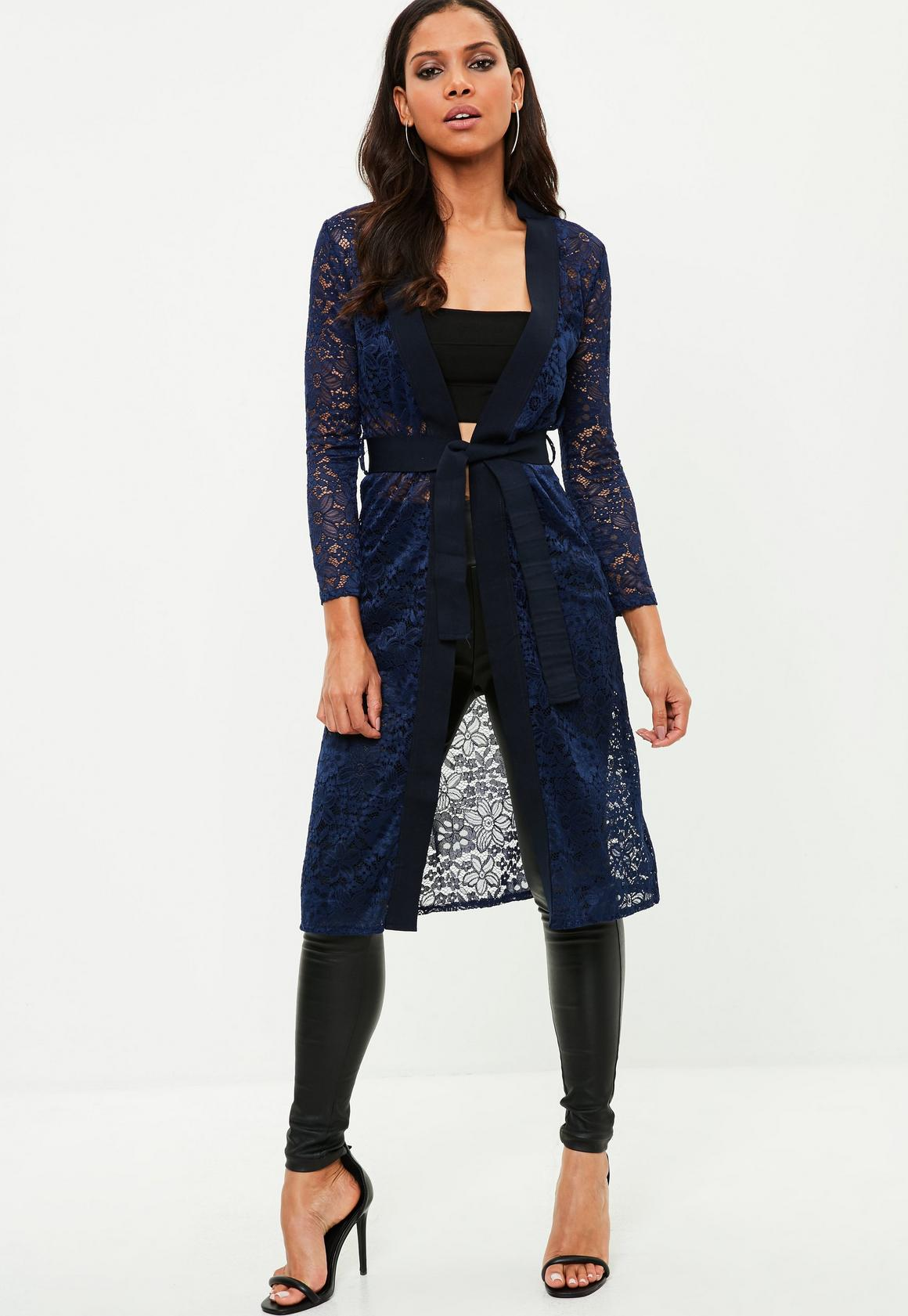 Navy Lace Longline Cardigan   Missguided