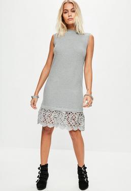 Grey Sleeveless Crochet Trim Drop Hem Dress