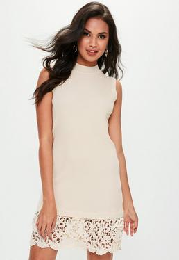 Beige Crochet Trim Drop Hem Dress