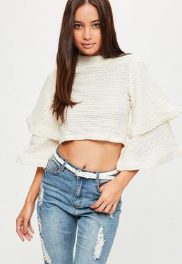 Cream Ruffle Sleeve Textured Sweater