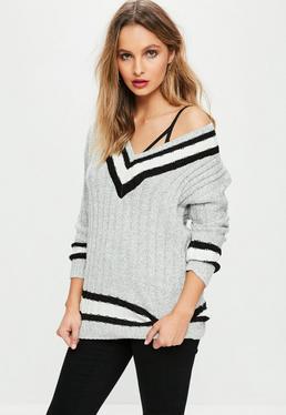 Grey Knitted Stripe Jumper