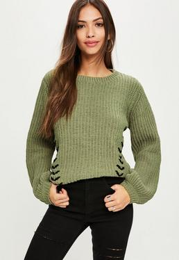 Khaki Lace Up Chunky Knitted Jumper