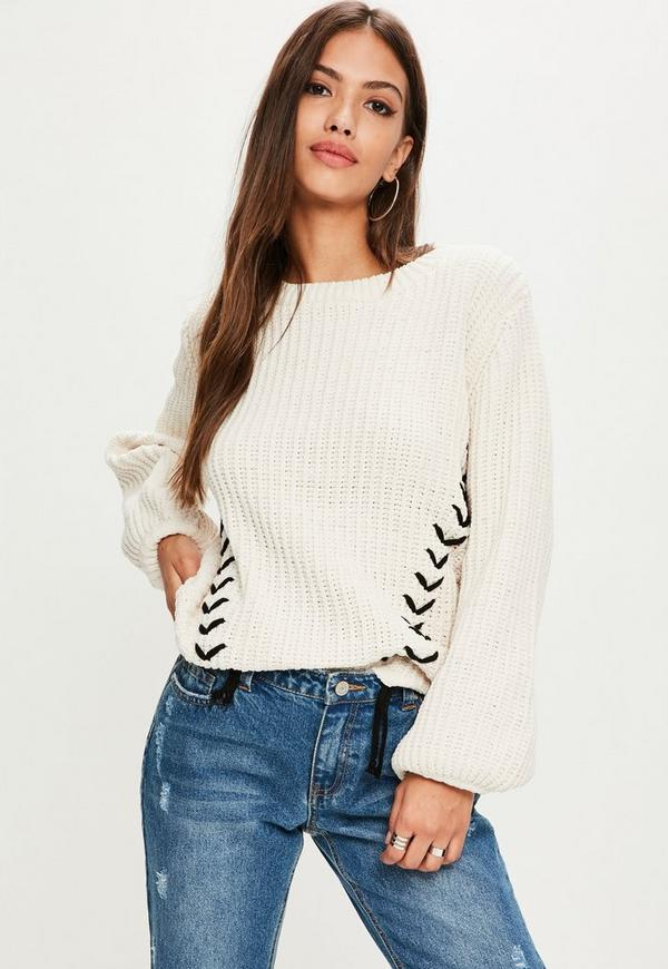 Cream Lace Up Chunky Knitted Jumper  1dd3b29e9