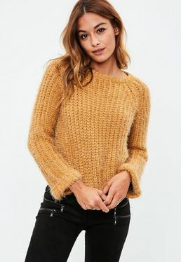 Brown Ribbed Chunky Knitted Sweater