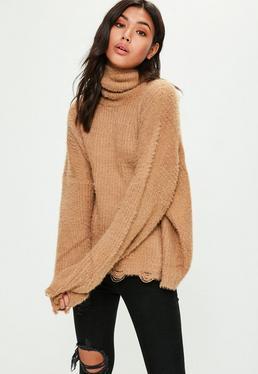 Camel Soft Oversized Roll Neck Knitted Jumper