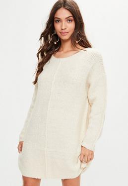 Beige Oversized Knitted Jumper Dress