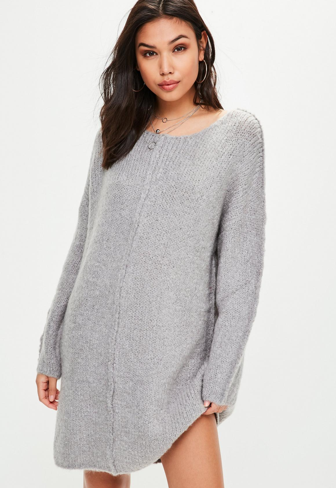 Gray Knitted Oversized Sweater Dress | Missguided