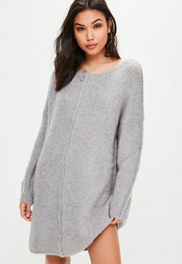 Grey Knitted Oversized Dress