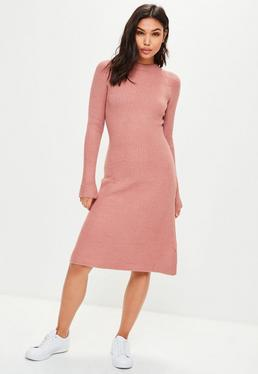 Pink Knitted Midi Jumper Skater Dress