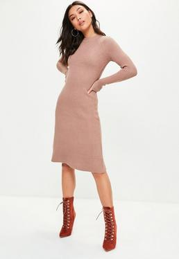 Brown Knitted Midi Skater Dress