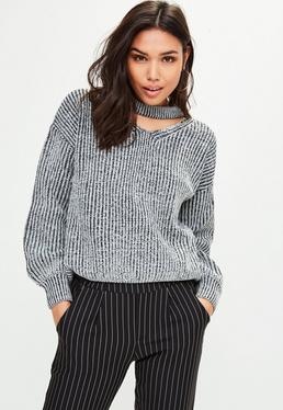 Monochrome Choker Neck Knitted Jumper