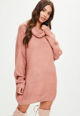 Pink Oversized Slouchy Knitted Jumper