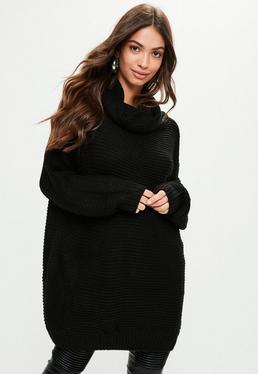Black Oversized Slouchy Knitted Jumper