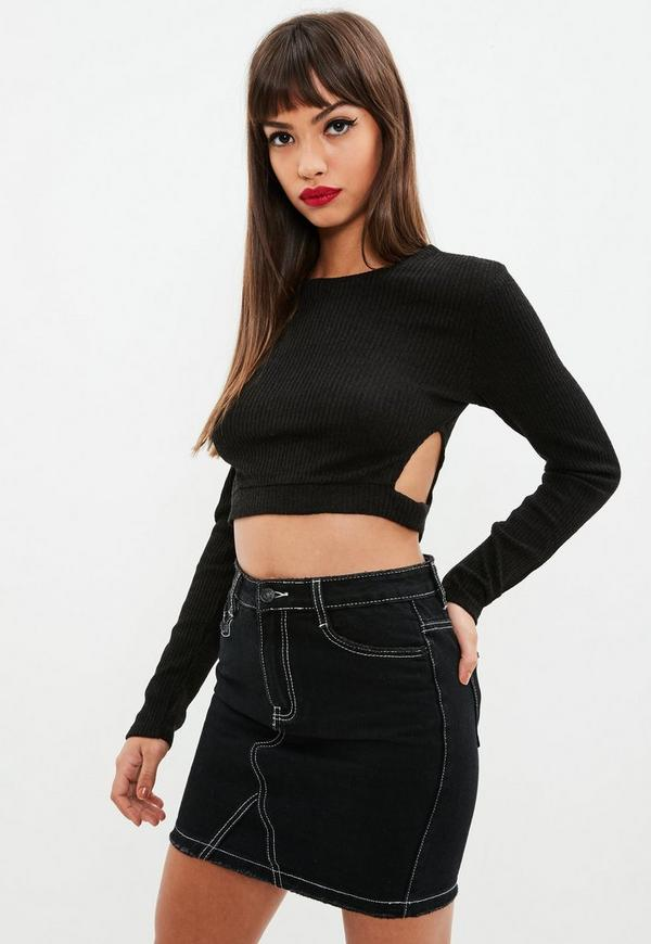 Black Cut Out Knitted Crop Top Missguided