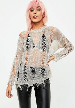 Nude Distressed Knitted Metallic Jumper