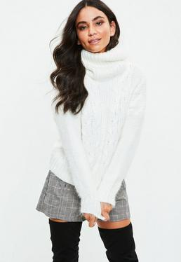 White Cable Knit Roll Neck Sweater