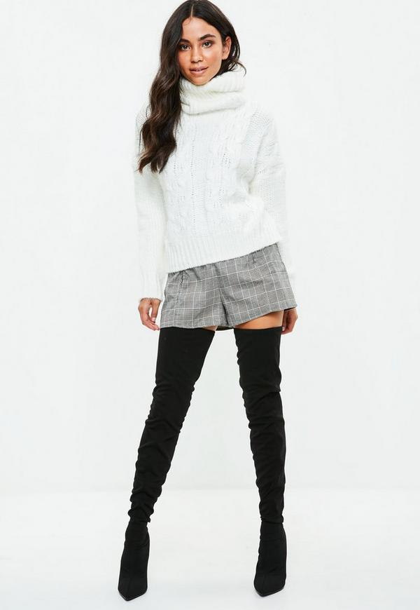 941241c156 White Cable Knit Roll Neck Jumper. Previous Next