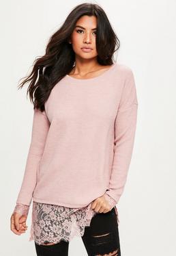 Pink Lace Hem Sweater