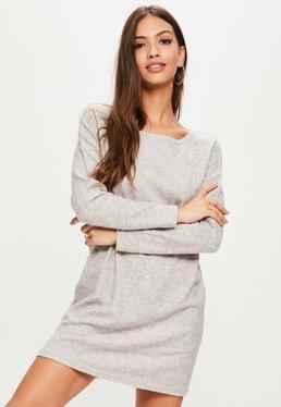 Grey Fleece Sweater Dress