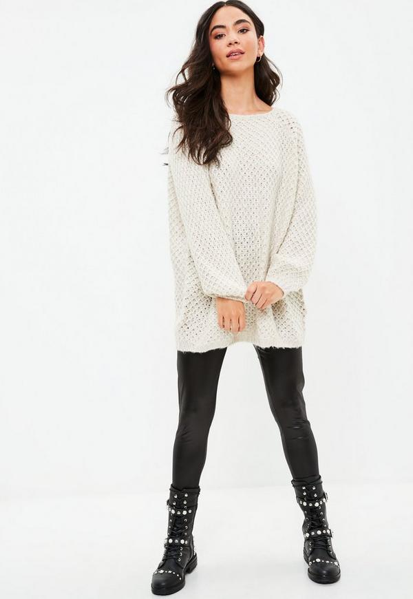 Cream Open Long Oversized Sweater   Missguided