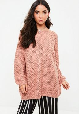 Pink Open Long Oversized Knitted Jumper
