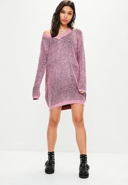 Pink Ribbed Two Tone Jumper Dress