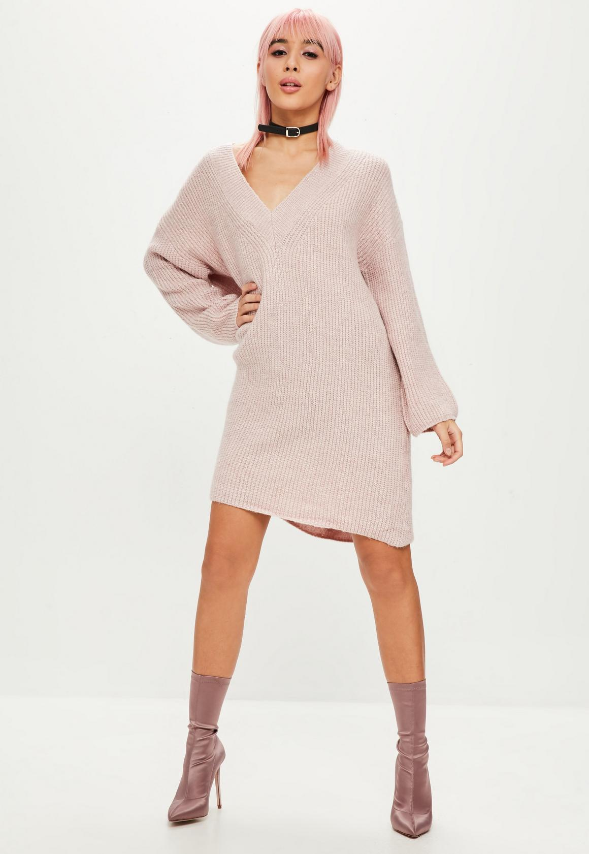 Pink Ribbed V Neck Sweater Dress | Missguided