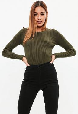 Khaki Button Shoulder Ribbed Knitted Jumper