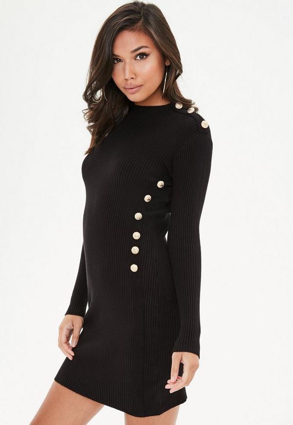 Black Button Side Jumper Dress Missguided