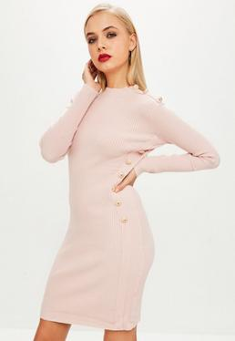 Pink Button Side Ribbed Dress