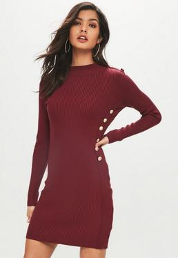 Wine Button Side Ribbed Dress