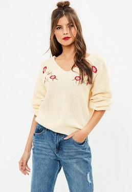 Cream Embroidered Jumper