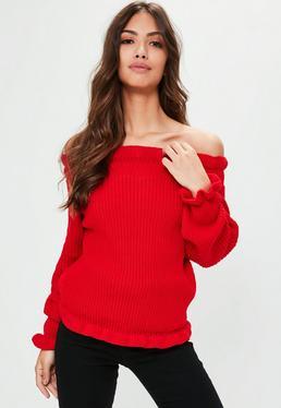 Red Frill Hem Bardot Sweater